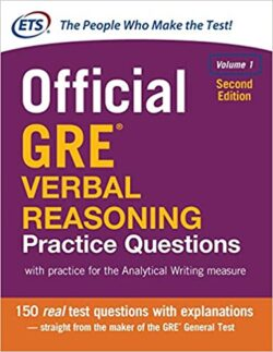 PORTADA DEL LIBRO OFICIAL GRE VERBAL REASONING PRACTICE QUESTIONS - ISBN 9781259863486